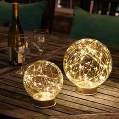 Kirkland's Pre-Lit Clear Glass Orbs are a unique way to bring light to your outdoor space. Place these on your outdoor table, and you will have an enchanting glow for your late evening chats.