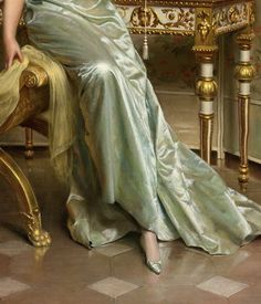 """OH my favorite fabric... Satin in white. Well, black's good too -- (""""Correspondence"""" (detail) by Frédéric Soulacroix (1858-1933)"""