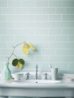 Retro Metro - love these Fired Earth Metropolitan tiles in a duck egg blue colour. great for bathroom tiles Duck Egg Blue Bathroom Tiles, Metro Tiles Bathroom, Aqua Bathroom, Loft Bathroom, Upstairs Bathrooms, Downstairs Bathroom, Bathroom Renos, Small Bathroom, Blue Bathrooms