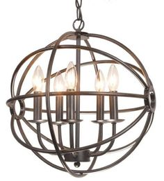 Modern Round Chandelier Ceiling 5 Light Metal Iron Industrial Rustic Ball  Globe #Modern