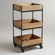 Our Wooden Gavin Rolling Cart features a crate look and casters so that you can easily move it from room to room. A refreshing way to organize a small home office or store bathroom essentials, you won't be able to resist this decorative storage solution. Industrial Furniture, Diy Furniture, Furniture Design, Rustic Furniture, Antique Furniture, Industrial Style, Industrial Farmhouse, Farmhouse Office, Furniture Board