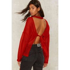 The Ragged Priest Bummed Out Open Back Sweater (€62) ❤ liked on Polyvore featuring tops, sweaters, red, see through tops, long sleeve sweater, red top, sheer sweater and crew sweater
