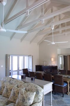 Everite ceiling boards and exposed trusses to create great space for small areas Ceiling Fan Vaulted Ceiling, Roof Ceiling, Open Ceiling, Slanted Ceiling, Exposed Trusses, Exposed Ceilings, Roof Trusses, Porch Roof Design, Roof Truss Design
