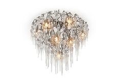 Hollywood Glass Contemporary Ceiling Chandelier in nickel finish. See more modern lighting collections and finishes at WWW. Murano Chandelier, Ceiling Chandelier, Modern Chandelier, Ceiling Lights, Custom Lighting, Modern Lighting, High End Lighting, Drawing Interior, Modern Light Fixtures
