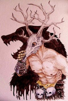 """""""The daedric prince Hircine is also known as the Huntsman of the Princes, and the Father of Manbeasts. He can call upon the Wild Hunt to punish those who defy him."""" art by inquissien:"""
