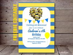 Free minion invitation, birthday invitation, baby shower free editable invitation