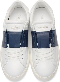 Valentino White & Navy Leather Sneakers