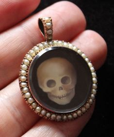 Victorian Momento Mori crystal skull charm necklace.modern painting in antique locket.moonscuriousitems by Sandra Hendler On Etsy
