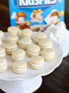 Looking for something slightly more elegant? Try baking macarons and adding crushed Rice Krispies in the buttercream.