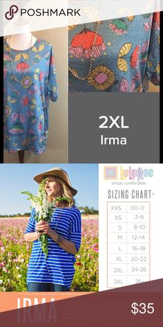 LuLaRoe Irma Size 2XL NWT We have tons more to list. helping a friend liquidate her inventory. So let us know what your looking for and we will see what we have in your size. She is open to offers as well. Jewelry is Park Lane! We can get those items too! Create a bundle for you. LuLaRoe Tops Tunics