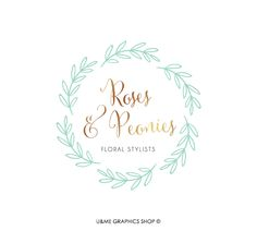 Wreath and Gold Premade Logo / U&Me Graphics