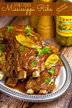 #Crockpot Mississippi Pork Ribs - fall-off-the-bone tender. Based on the much-loved Mississippi beef roast recipe, but gets an extra kick from a bit of hot sauce and good ole Jack Daniels!