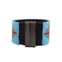 """Bracelet """"Sweet Fall"""" manchette Navajo sur Cuir vachette Noir Fermoir Aimanté Noir : Bracelet par deluxal"""