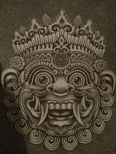 "Barong is a mythical creature and represents ""good"". The barong protects the people against evil spirits and comes by the houses during Nyepi. Barong Bali, Tibetan Tattoo, Balinese Tattoo, Art Thai, Body Art Tattoos, Sleeve Tattoos, Tiki Art, Indonesian Art, Thai Tattoo"