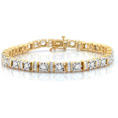 5 CT. T.W. White Diamond 10K Gold Tennis Bracelet ($2,375) ❤ liked on Polyvore featuring jewelry, bracelets, gold jewellery, yellow gold tennis bracelet, gold bangles, gold jewelry and yellow gold jewelry