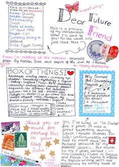 Non linear letter writing - creative from the normal way I write to my friends!