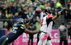 Falcons vs. Seahawks:    October 16, 2016  -  26-24, Seahawks  -    Seattle Seahawks defensive end Cliff Avril, left, forces a fumble by Atlanta Falcons quarterback Matt Ryan (2) in the first half of an NFL football game, Sunday, Oct. 16, 2016, in Seattle. The Seahawks recovered the fumble.