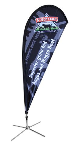 Teardrop Banners are the most static and provide a bigger space to display a logo at the top where it is most visible.  Double Sided is most common for maximum exposure