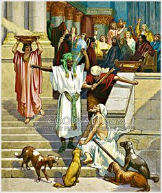 Lazarus sits outside rich mans house to beg. The dogs come and lick his sores.      ルカ16:19-31