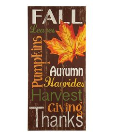 Ohio Wholesale, Inc. Signs of Fall Wall Plaque | zulily