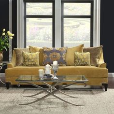 Visconti Traditional Sofa by FOA (Gold), Furniture of America Living Room Sofa, Living Room Furniture, Living Room Decor, Cozy Living, Cottage Living, Small Living, Living Spaces, Couch U Form, Gold Furniture