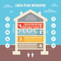 Infografiki koncepcja biznesowa-domu w płaska konstrukcja stylu Ilustracja grafiki wektorowe typu royalty-free