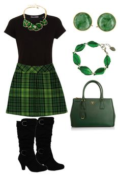 """""""St. Patrick's Day Outfit 2016"""" by amanda-o-twomey ❤ liked on Polyvore featuring Vince, Anna Sui, Prada and Amrita Singh"""