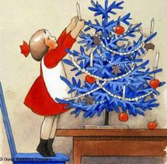 Christmas Tree by Rudolf Koivu, 1890-1946, Finnish.  Love the simplicity of the colors.