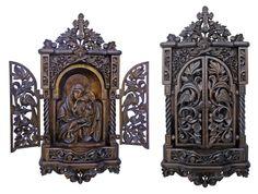 Lovely home altar by Plamen Dinkov Religious Icons, Religious Art, Prayer Corner, Religion, Home Altar, Gothic Furniture, Wood Carving Designs, Art Carved, Sculpture