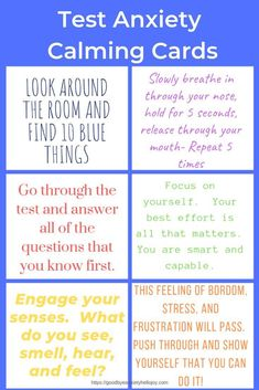 Do you have a child or student with test anxiety? These printable set of cards are great reminders for students as they work through their tests. These can be accessed by subscribing for free access to the freebie library. Test Anxiety, Social Anxiety, Controlling Anxiety, Explaining Anxiety, Anxiety Facts, Health Anxiety, School Psychology, Personal Development, Health