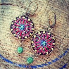 Big earrings #earrings #embroideredjewelry #embroideryonfelt #boho #ethno #embroidery #bordado #broderie #felt #mandala #ohrringe #schmuck #stickerei
