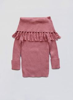 Vierra Rose Sabella Fringe Sweater in New York Pink
