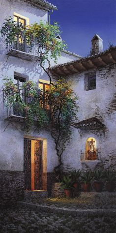 Niche with Dolorosa - by Luis Romero Building Painting, House Painting, Pintura Exterior, Spanish Painters, Fantasy Places, Rue, Beautiful Landscapes, Fine Art Photography, Home Art