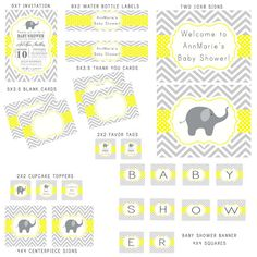 Gray and Yellow Elephant Chevron and Polka Dots Baby Shower