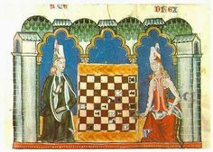 Two Spanish damsels playing chess on a chequered board from the book of Alfonso X the wise, folio 32 recto; The squares are white and brown, the game pieces black and white.
