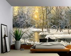 Snow River Forest Creek Winter Landscape - Large Wall Mural, Self-adhesive Vinyl Wallpaper, Peel & Stick fabric wall decal