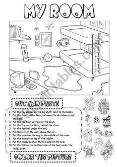 My room - ESL worksheet by gabitza Grammar Games, Grammar Book, English Exercises, Esl Resources, Vocabulary Worksheets, Preschool Themes, Prepositions, Cut And Paste, Activity Sheets