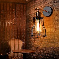 Vintage Edison Industrial Style Metal Cage Wall Fixture Wall Sconces Lights 220V