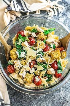 Chicken Caesar Pasta Salad - super easy & you'll never guess it's lightened up with how much flavor it's packed with! Perfect for potlucks & summer barbecues!