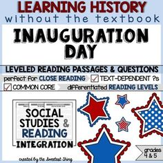 FREE Inauguration Day - Close Reading Leveled Social Studies Integration from The Sweetest Thing on TeachersNotebook.com -  (23 pages)  - Inauguration Day - This resource is perfect for teaching and practicing close reading skills in complex texts. It can also be used during guided reading groups!
