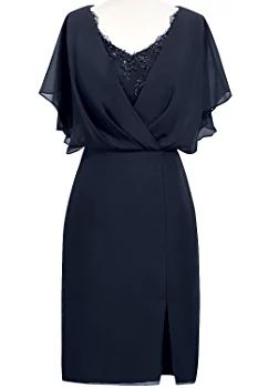 ORIENT BRIDE Modern Scoop Short Sleeve Sheath Mother of the Bride Dresses Size 20W US Navy Blue