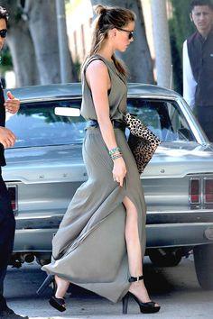 Amber Heard sporting a tasteful slit dress