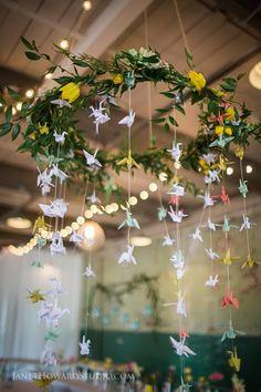 1000 paper cranes in wedding decor. Hanging centerpiece.