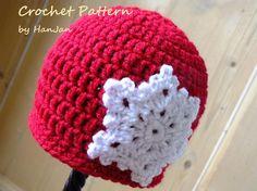 Crochet Christmas Snowflake Beanie Hat
