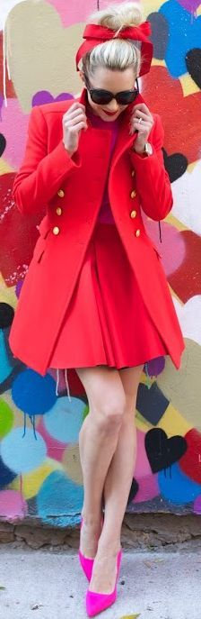Pop Of Pink And Military Red Fall Inspo by Atlantic - Pacific
