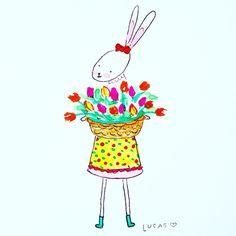 Zinnie 💕🌷🐰  .  .  #bunny #rabbit #illo #illustration #illustrator #watercolour #watercolor #kidlitart #tulips #painting #artist #myart #mywork #new #wip #sunny #happy #artfeed #happyfeed #saturday #greetingcard #easter #gardening #gardener #characterdesign #design #scandi #🌷