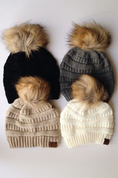 18afb2f7eb4 Pom knit CC Beanie available in four colors  beige