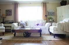industrial element contrasts w/ white overstuffed upholstery