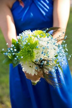 Blue green wedding ugly diy flowers and died blue babies breath flowers