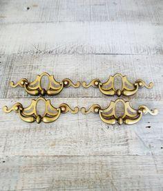 Drawer Handles 4 Large Ornate Drawer Pulls Antique Hardware Brass Handles Vintage Dresser Hardware Salvaged Hardware Vintage Drawer Pulls by TheDustyOldShack on Etsy